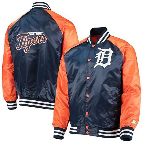Men's Starter Navy/Orange Detroit Tigers The Lead Off Hitter Full-Snap Jacket