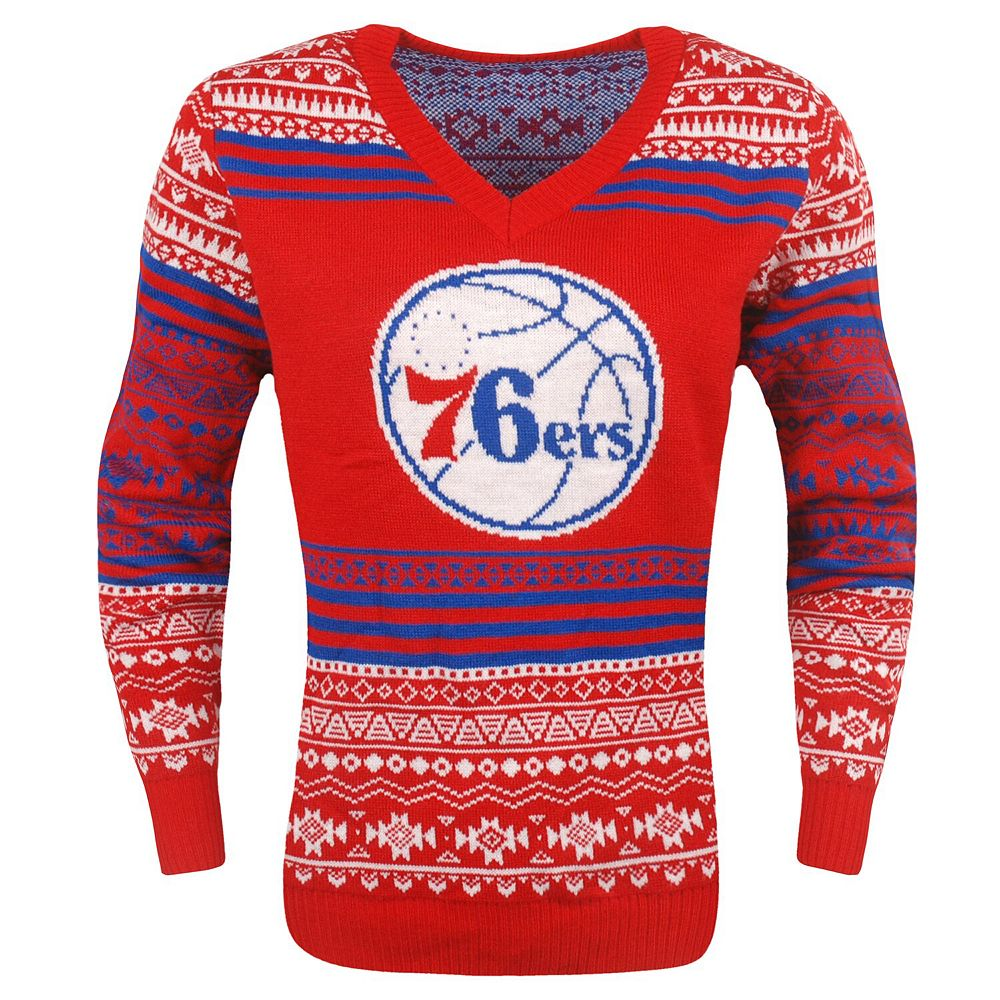 Women's Red Philadelphia 76ers Big Logo Aztec V-Neck Sweater
