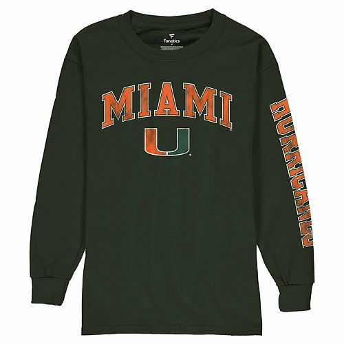 Youth Fanatics Branded Green Miami Hurricanes Distressed Arch Over Logo Long Sleeve T-Shirt