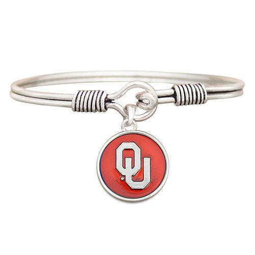 Women's Silver Oklahoma Sooners Iridescent Logo Bangle Bracelet