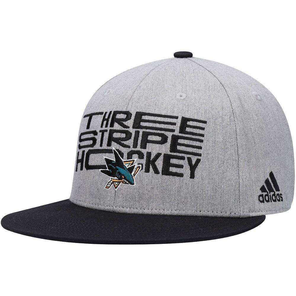 Men's adidas Gray/Black San Jose Sharks Three Stripe Hockey Adjustable Hat