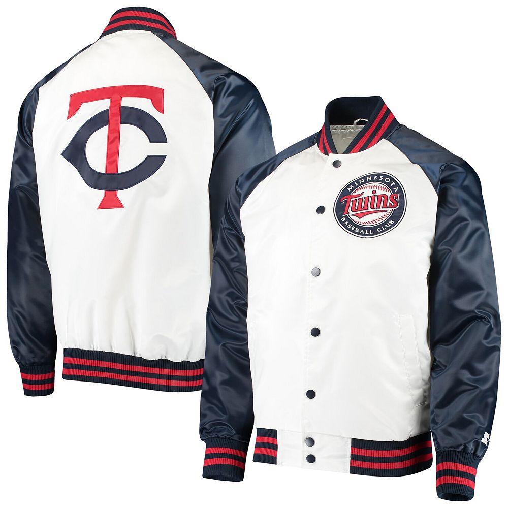 Men's Starter White/Navy Minnesota Twins Clean-Up Hitter Full-Snap Jacket