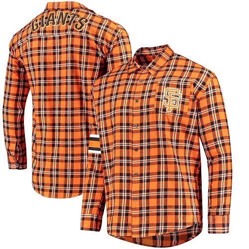 Men's Orange San Francisco Giants Wordmark Basic Flannel Button-Up Shirt