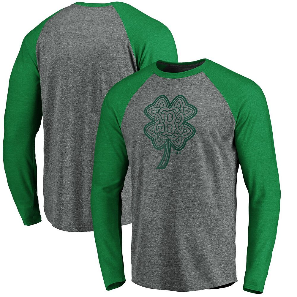 Men's Fanatics Branded Gray/Kelly Green Boston Red Sox St. Patrick's Day Paddy's Pride Raglan Long Sleeve T-Shirt