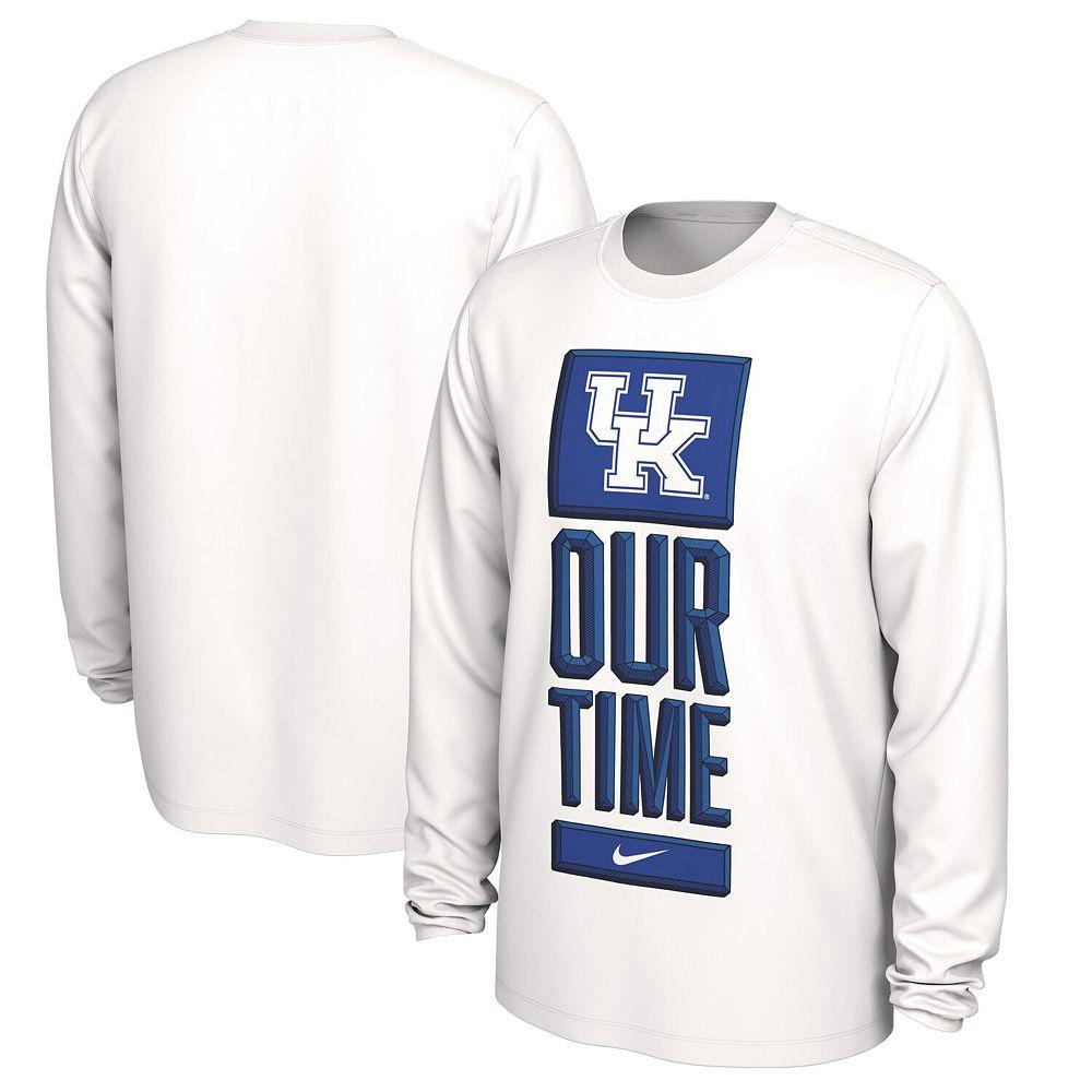Men's Nike White Kentucky Wildcats Basketball Our Time Bench Legend Performance Long Sleeve T-Shirt