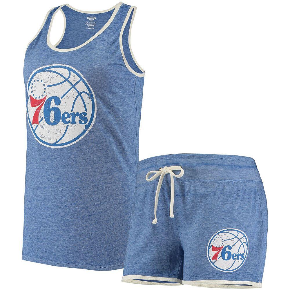 Women's Concepts Sport Heathered Royal Philadelphia 76ers Loyalty Tank and Shorts Sleep Set