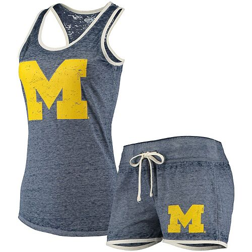 Women's Concepts Sport Navy Michigan Wolverines Loyalty Racerback Tank Top & Shorts Sleep Set