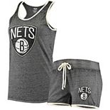 Women's Concepts Sport Heathered Charcoal Brooklyn Nets Loyalty Tank and Shorts Sleep Set