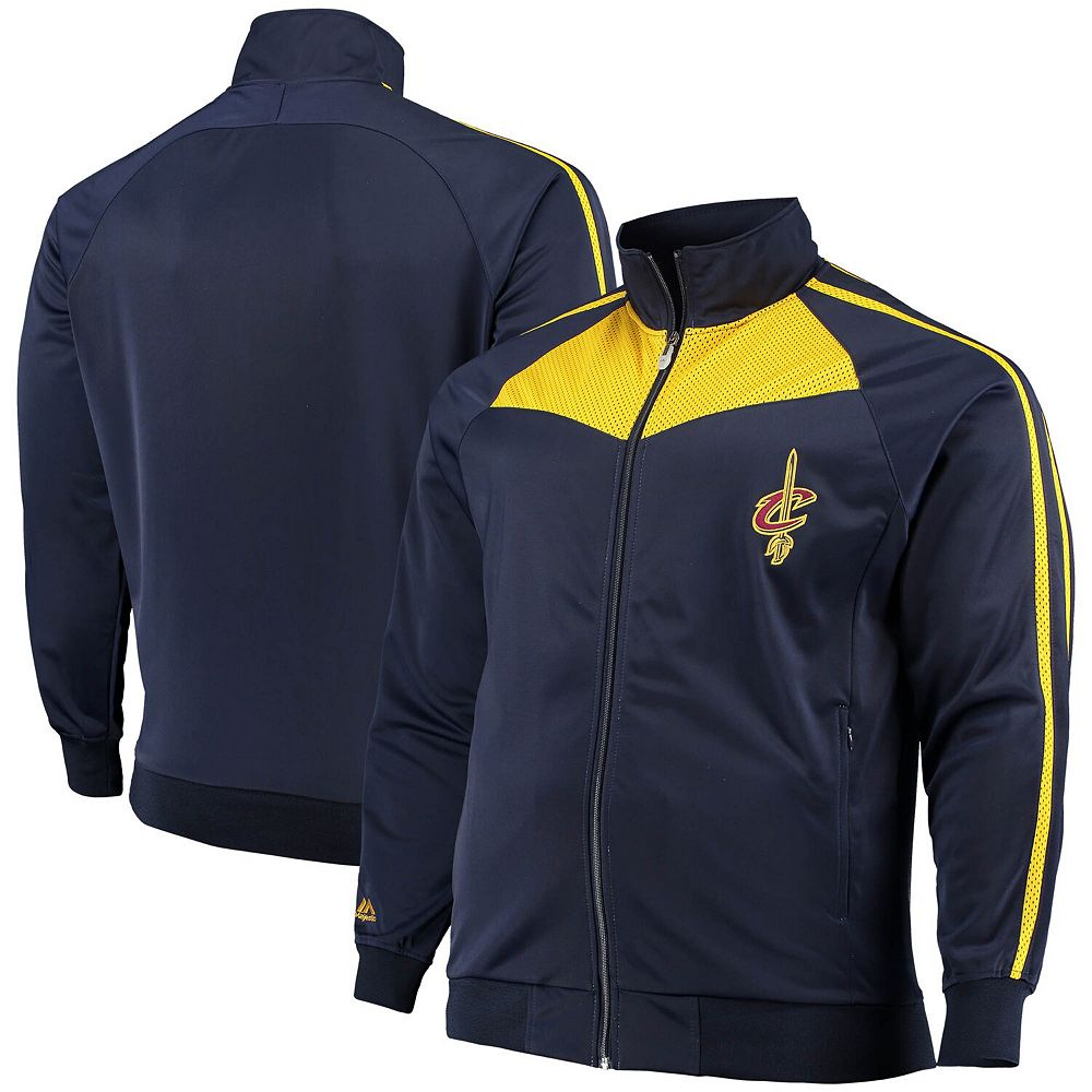 Men's Navy/Gold Cleveland Cavaliers Big & Tall Team Showtime Tricot Full-Zip Track Jacket