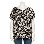 Plus Size Croft & Barrow® Tiered-Sleeve Peasant Top