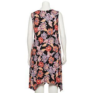 Plus Size Croft & Barrow® Print Sharkbite-Hem Dress