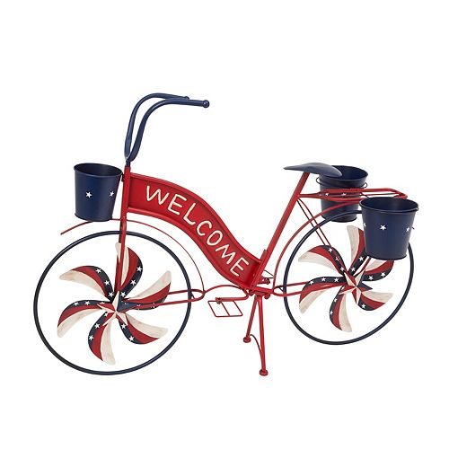Sterling Metal Bicycle with Spinning Spokes & Planters