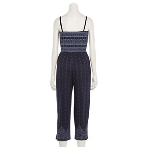 Juniors' Almost Famous Smocked Button-Front Jumpsuit