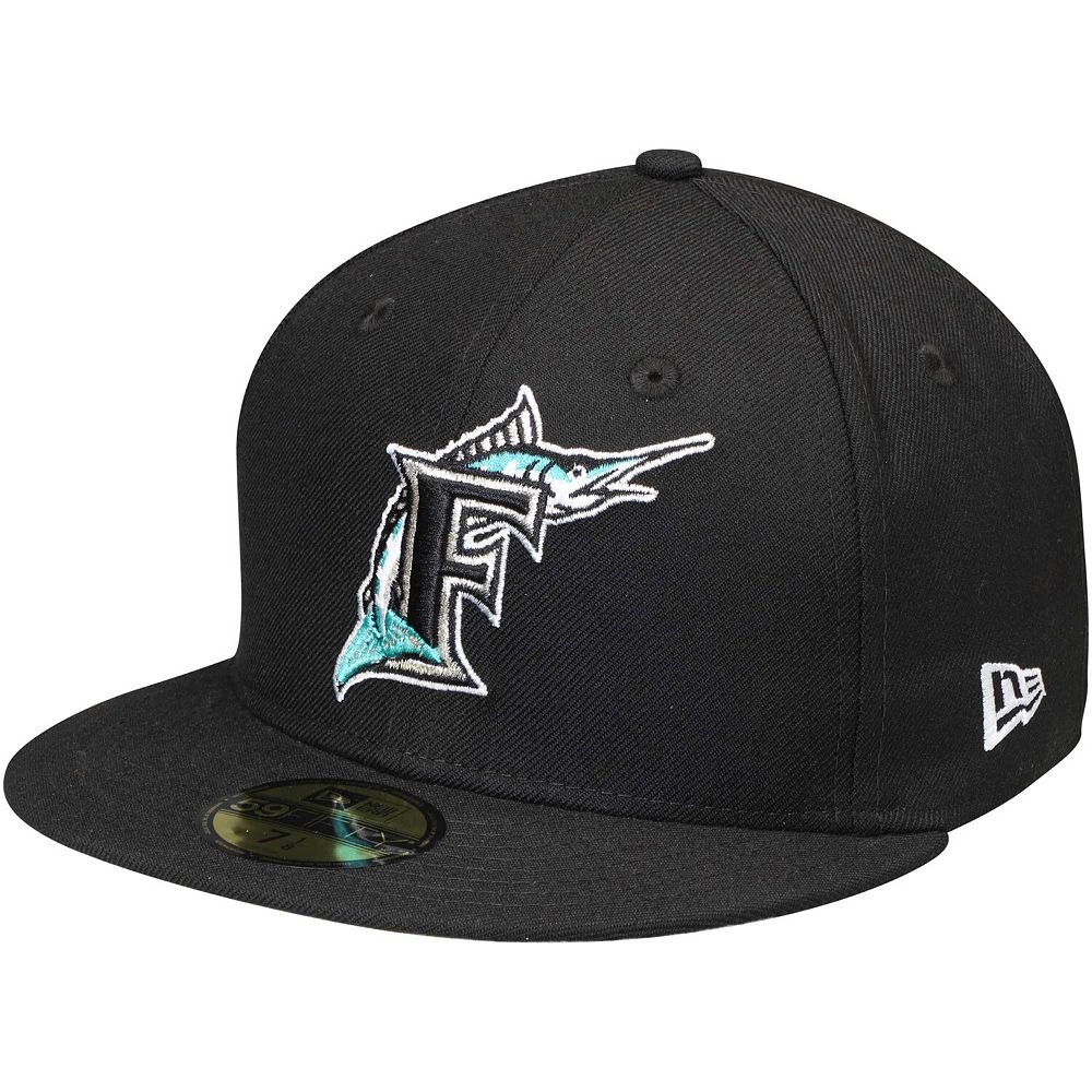 Men's New Era Black Florida Marlins Cooperstown Collection Wool 59FIFTY Fitted Hat