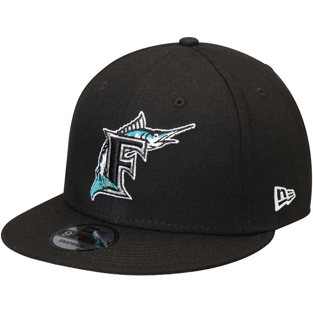 Men's New Era Black Florida Marlins Team Color 9FIFTY Snapback Hat
