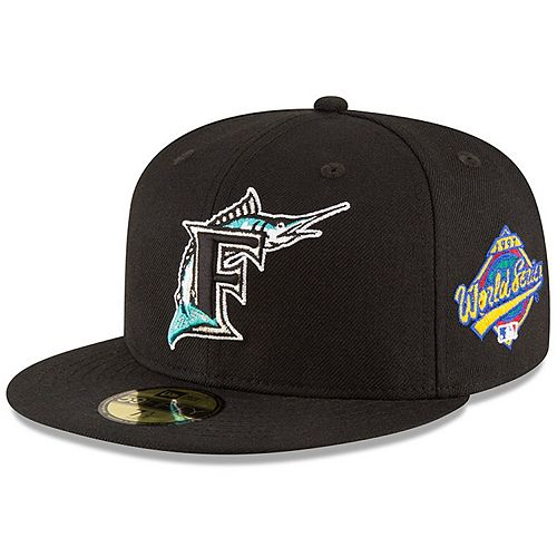 Men's New Era Black Florida Marlins 1997 World Series Wool 59FIFTY Fitted Hat
