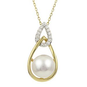 PearLustre by Imperial 14k Gold Akoya Cultured Pearl & Diamond Accent Pendant Necklace
