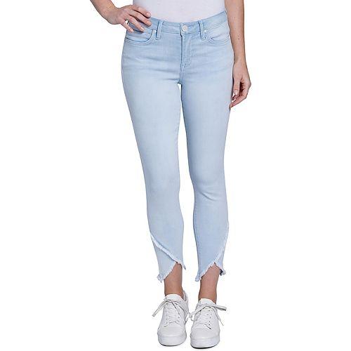 New SIMPLY VERA VERA WANG Cropped Jeans Women 4 6 Wide Leg Frayed Hem Denim Pant