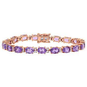Stella Grace 18K Rose Gold Over Silver Amethyst & White Sapphire Station Bracelet