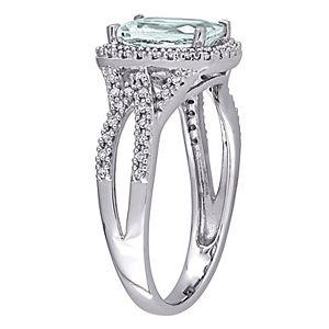 Stella Grace 10K White Gold Aquamarine & 1/6 Carat T.W. Diamond Ring