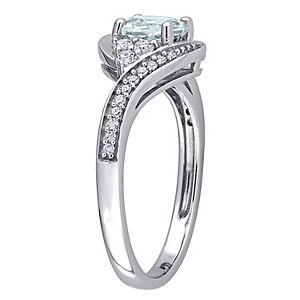 Stella Grace 10K White Gold Aquamarine, White Topaz & 1/10 Carat T.W. Diamond Ring