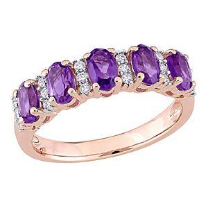 Stella Grace 14K Rose Gold Amethyst & 1/6 Carat T.W. Diamond Ring
