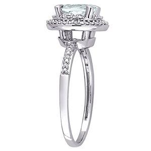 Stella Grace 10K White Gold Aquamarine & 1/10 Carat T.W. Diamond Halo Ring