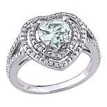 Stella Grace 10K White Gold Aquamarine & 1/5 Carat T.W. Diamond Ring
