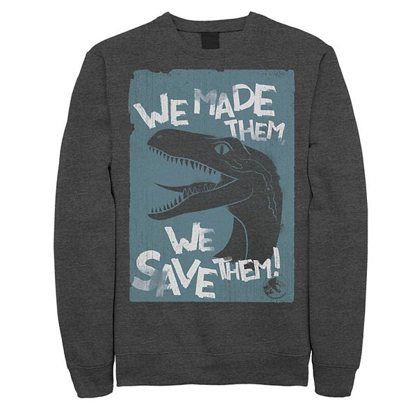 Men's Jurassic World Two We Made Them We Save Them Sweatshirt Charcoal Heather hzBbO