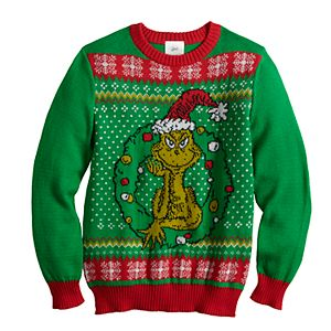 Boys 8-20 Dr. Suess' The Grinch Who Stole Christmas Ugly Christmas Sweater