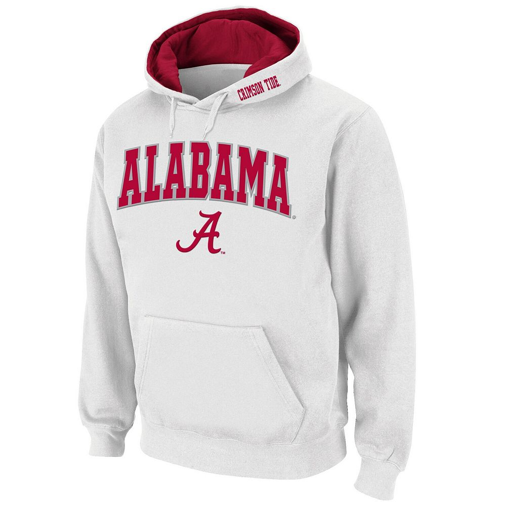 Men's Stadium Athletic White Alabama Crimson Tide Arch & Logo Pullover Hoodie