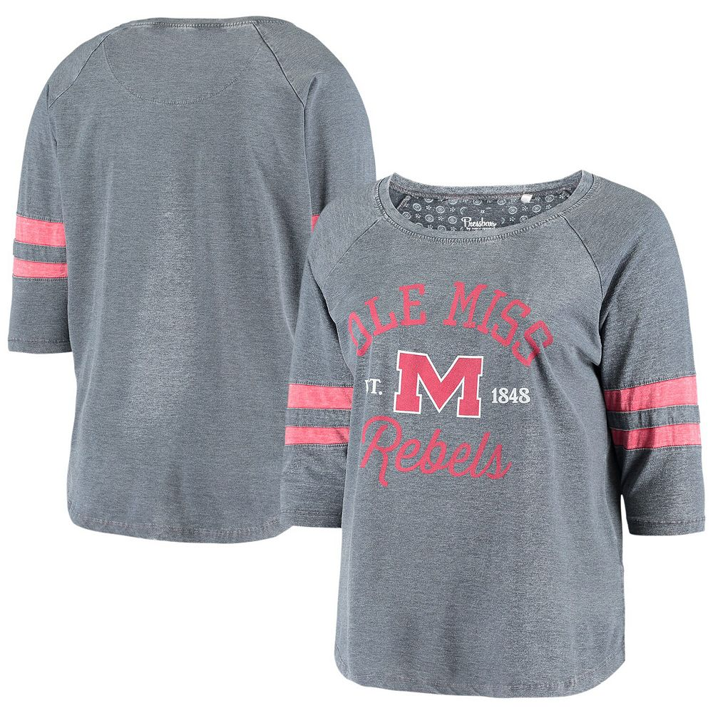 Women's Pressbox Heathered Navy Ole Miss Rebels Plus Size Jade Vintage Washed 3/4-Sleeve Jersey T-Shirt