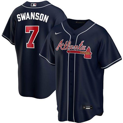 Men's Nike Dansby Swanson Navy Atlanta Braves Alternate 2020 Replica Player Jersey