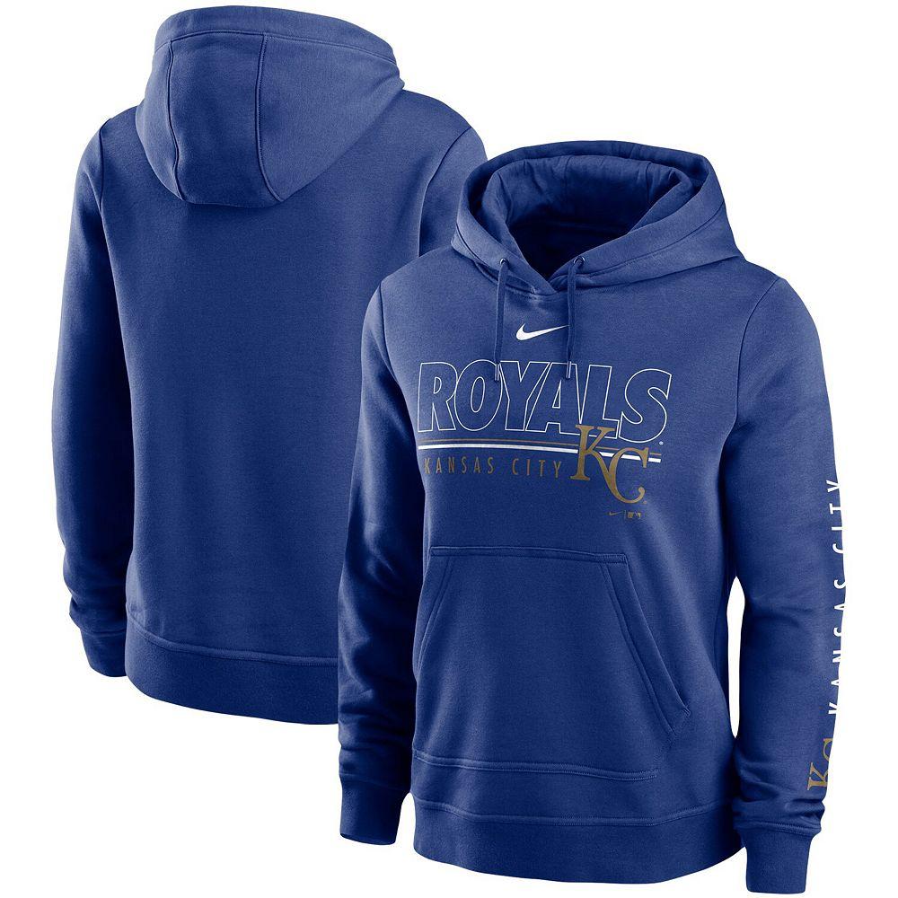 Women's Nike Royal Kansas City Royals Team Outline Club Pullover Hoodie