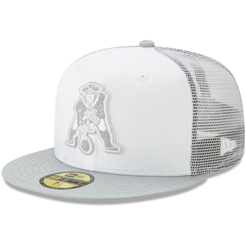 Men's New Era White/Heathered Gray New England Patriots White Cloud Historic 59FIFTY Fitted Hat