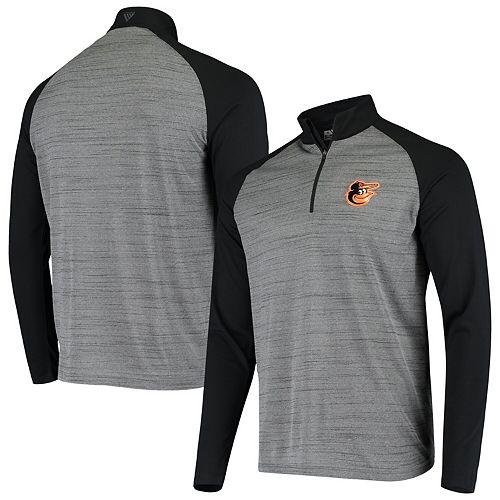 Men's Levelwear Gray/Black Baltimore Orioles Vandal Raglan Quarter-Zip Pullover Jacket