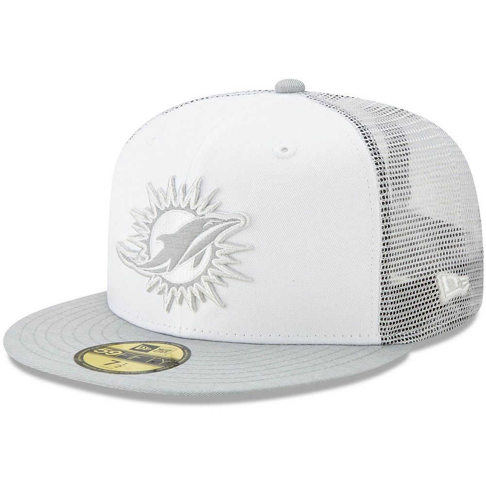 Men's New Era White/Heathered Gray Miami Dolphins White Cloud 59FIFTY Fitted Hat