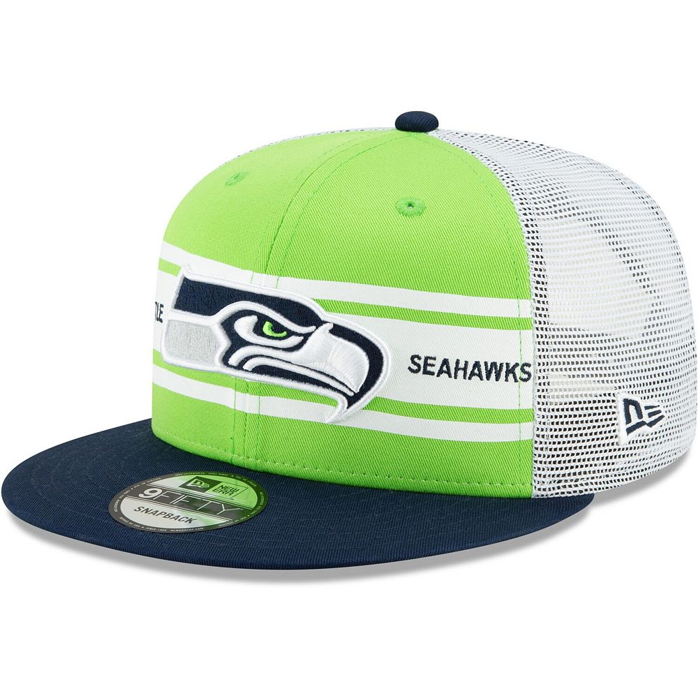 Men's New Era Neon Green/College Navy Seattle Seahawks Classic 77 Stripe Mesh 9FIFTY Snapback Adjustable Hat