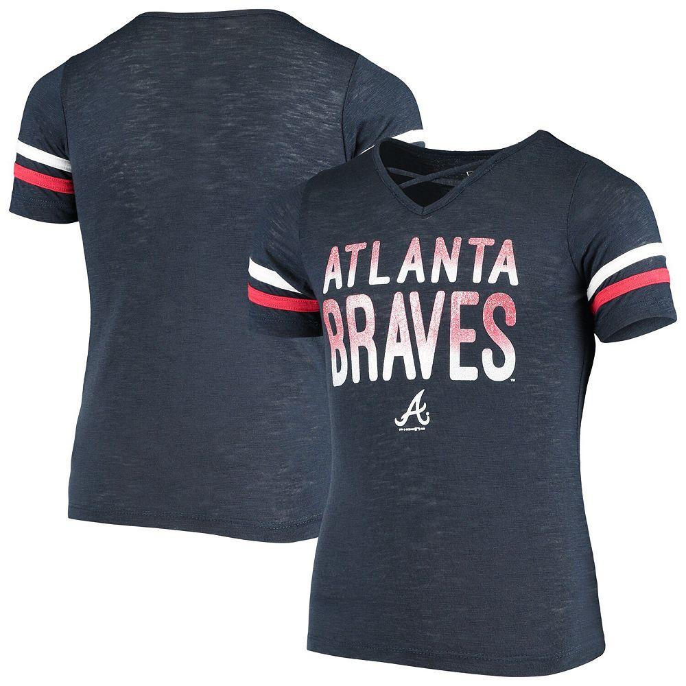 Girls Youth New Era Navy Atlanta Braves Slub Jersey V-Neck T-Shirt