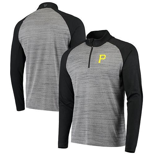 Men's Levelwear Gray/Black Pittsburgh Pirates Vandal Raglan Quarter-Zip Pullover Jacket