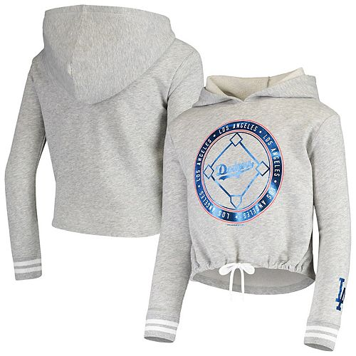 Girls Youth Justice Heathered Gray Los Angeles Dodgers French Terry Pullover Hoodie
