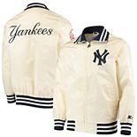 Men's Starter Cream New York Yankees The Captain II Full-Zip Jacket