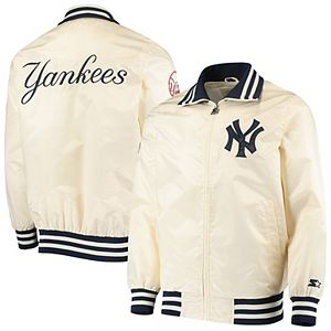 Men's Starter Cream New York Yankees The Captain II Full-Zip Jacket