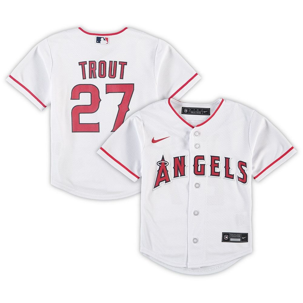 Preschool Nike Mike Trout White Los Angeles Angels Home 2020 Replica Player Jersey