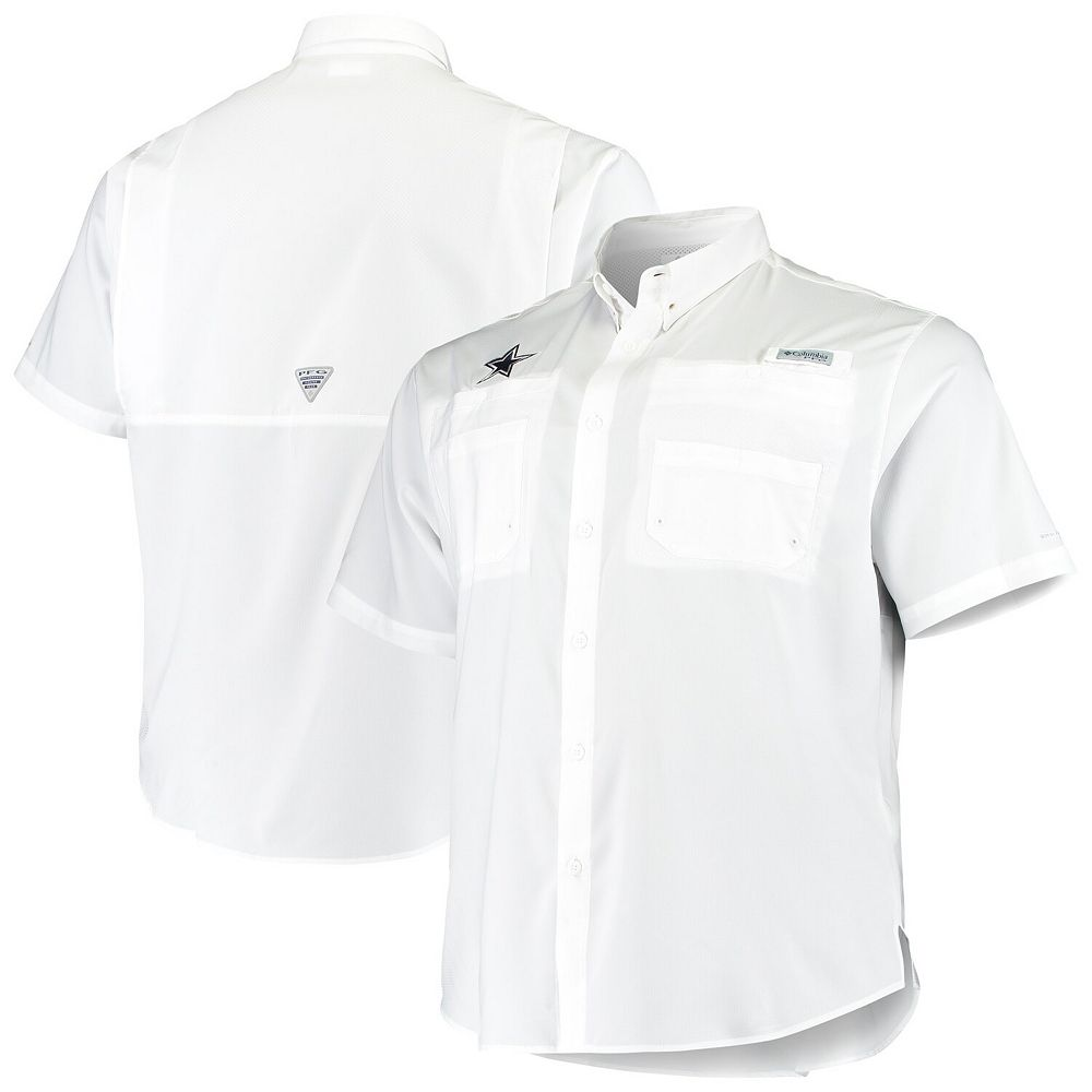 Men's Columbia White Dallas Cowboys Big & Tall Tamiami Woven Button-Down Shirt
