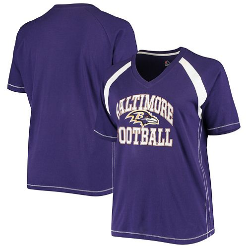 Women's Majestic Purple/White Baltimore Ravens Plus Size Pieced V-Neck Raglan T-Shirt