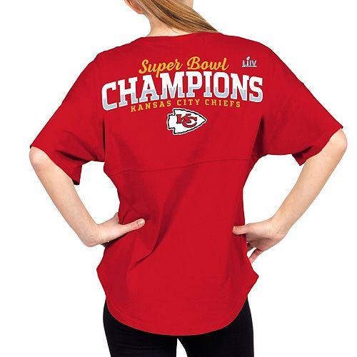 Women's NFL Pro Line by Fanatics Branded Red Kansas City Chiefs Super Bowl LIV Champions V-Neck Spirit Jersey T-Shirt