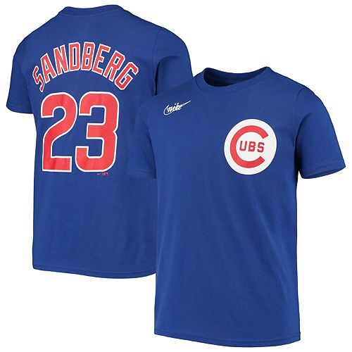 Youth Nike Ryne Sandberg Royal Chicago Cubs Cooperstown Collection Player Name & Number T-Shirt