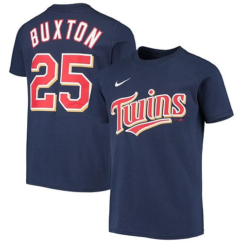 Youth Nike Byron Buxton Navy Minnesota Twins Player Name & Number T-Shirt
