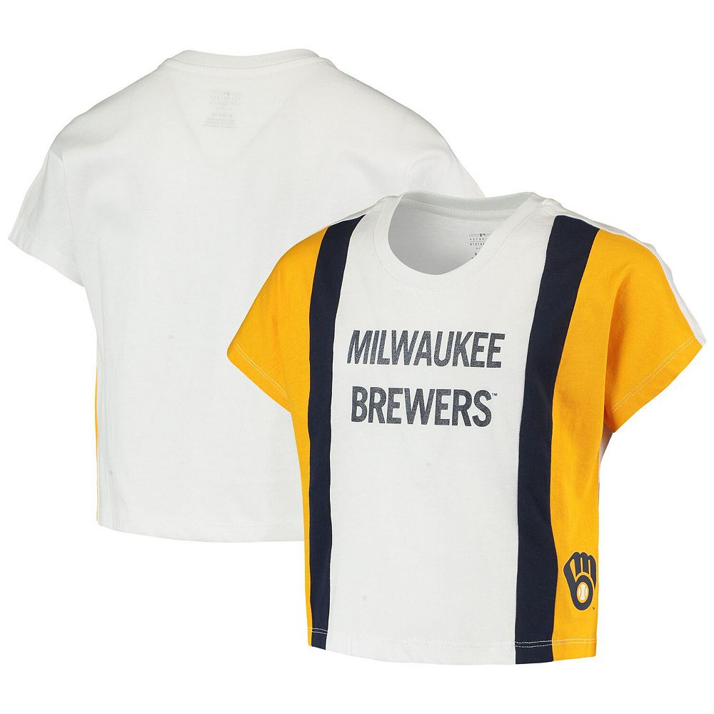 Girls Youth White/Gold Milwaukee Brewers As If Cropped Boxy T-Shirt